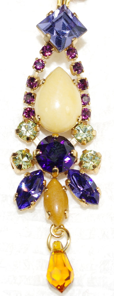 "MARIANA EARRINGS HOPE: purple, yellow, beige, amber stones in 2.25"" yellow gold setting, levere back"
