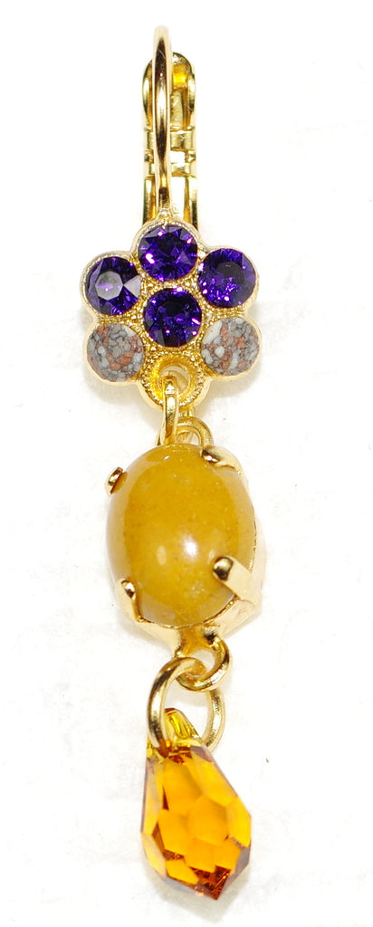 "MARIANA EARRINGS HOPE: amber, purple, yellow stones in 1.75"" yellow gold setting, lever back"