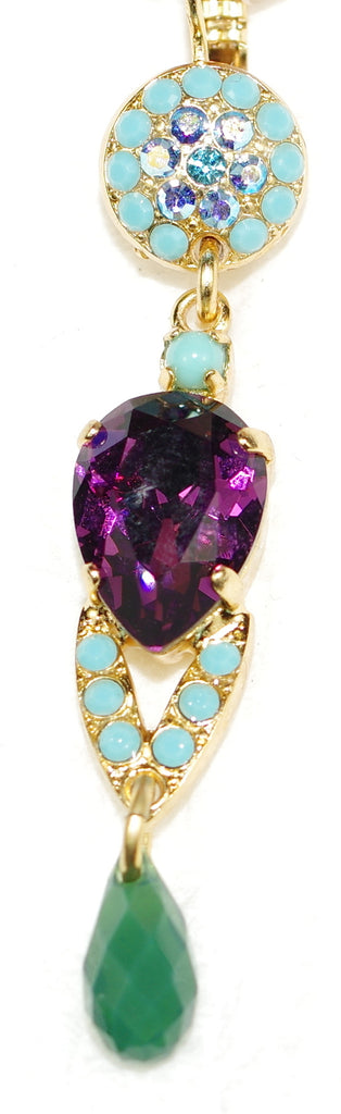 "MARIANA EARRINGS INSPIRE: purple, blue, green, turq stones in 2"" yellow gold setting, lever back"