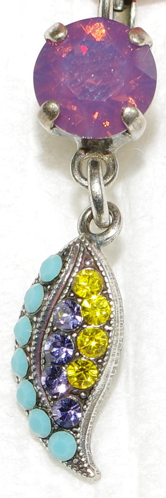 "MARIANA EARRINGS HAPPINESS: lavender, yellow, turq stones in 1.25"" silver setting, lever back"