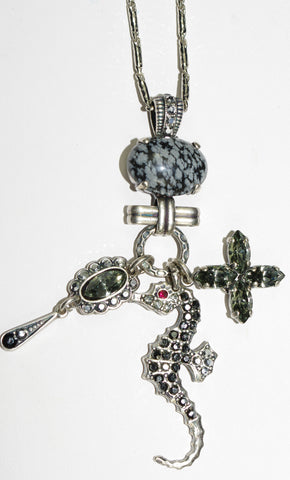 "MARIANA PENDANT BLACK DIAMOND: 3"" charm with taupe, grey/black stones, silver setting, 26"" adjustable chain"