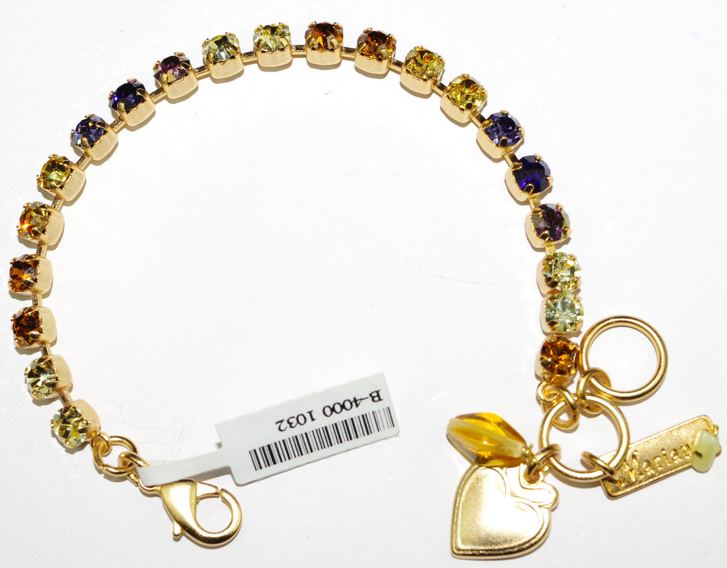 MARIANA BRACELET HOPE: small purple, amber, yellow stones in yellow gold setting