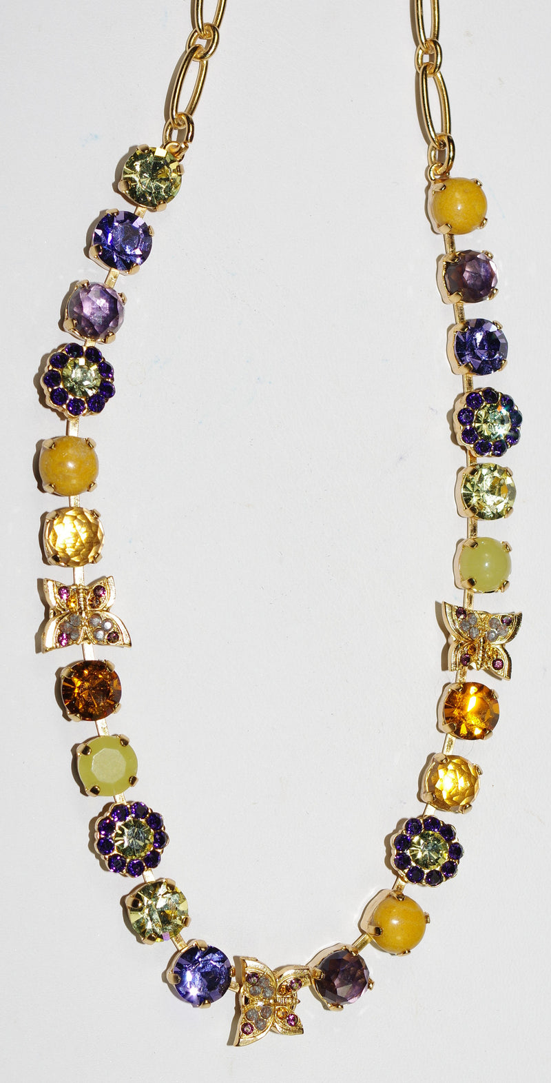 "MARIANA NECKLACE HOPE: purple, yellow, topaz, lavender stones in yellow gold setting, 16"" adjustable chain"