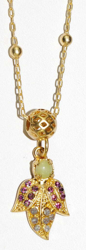 "MARIANA PENDANT HOPE: green, purple stones in 3/4"" pendant, yellow gold setting, 20"" adjustable chain"