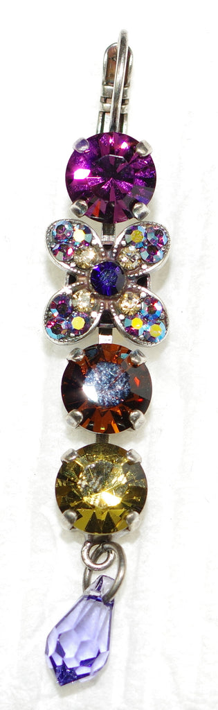 "MARIANA EARRINGS FAITH: purple, amber, a/b stones in 2.25"" silver setting, lever back"