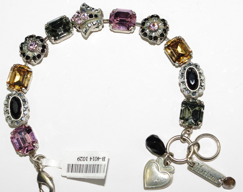 MARIANA BRACELET DISCOVER: pink, black, amber stones in silver setting
