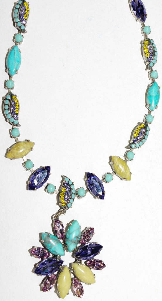 "MARIANA NECKLACE HAPPINESS: turq, purple, yellow stones in 1.5"" silver pendant, 24"" adjustable chain"