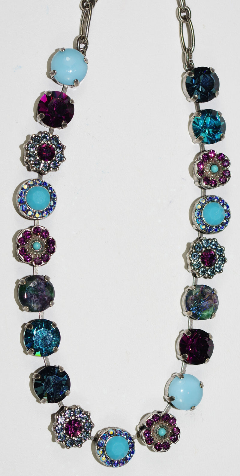 "MARIANA NECKLACE INSPIRE SOPHIA: blue, a/b, purple stones in silver setting, 17"" adjustable chain"