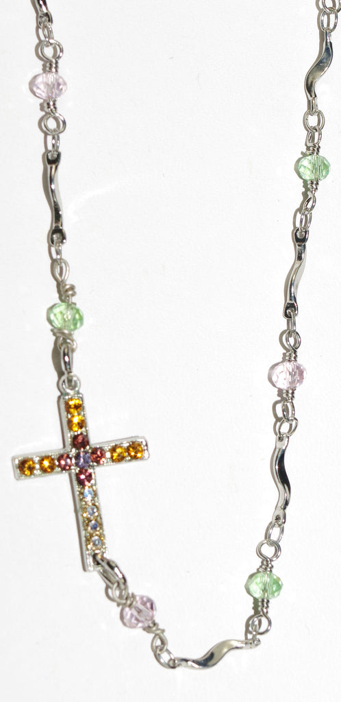 "MARIANA CROSS PENDANT DREAM: amber, pink, green,  topaz stones, .75"" cross in silver setting, 20"" adjustable chain"