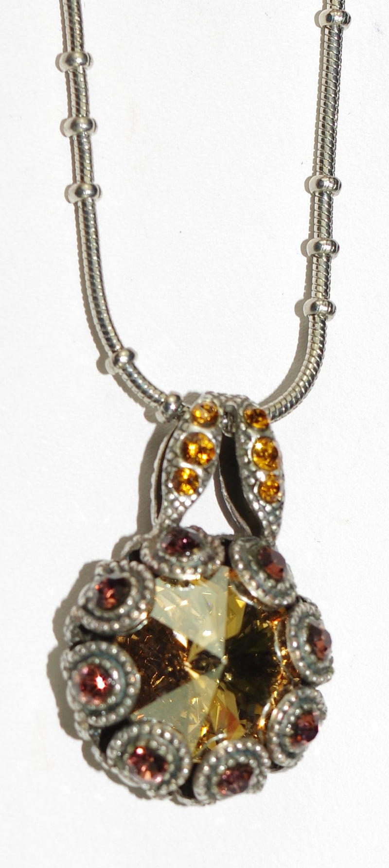 "MARIANA PENDANT DREAM: amber, brown stones in silver setting, 18"" adjustable chain"