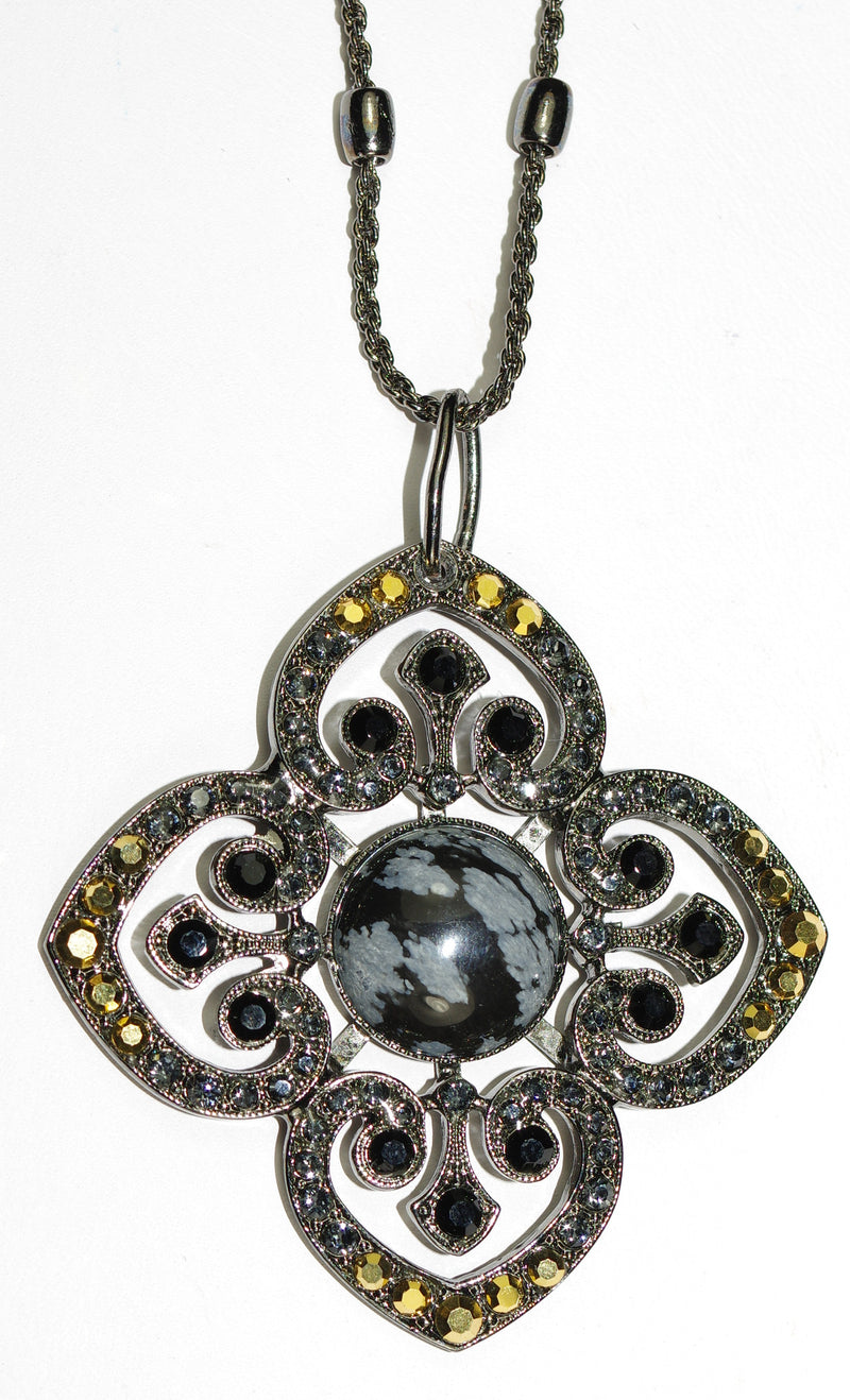 "MARIANA PENDANT COURAGE JOURNEY: gold, black, grey stones in 2"" pendant, black gold setting, 30"" adjustable chain"