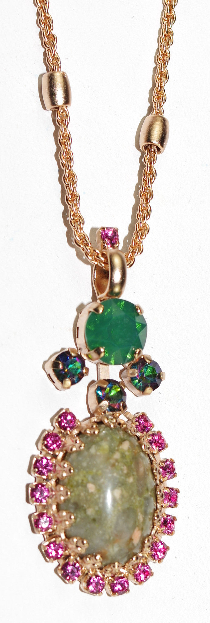 "MARIANA PENDANT LUCK: green, pink stones in rose gold setting, 20"" adjustable chain"