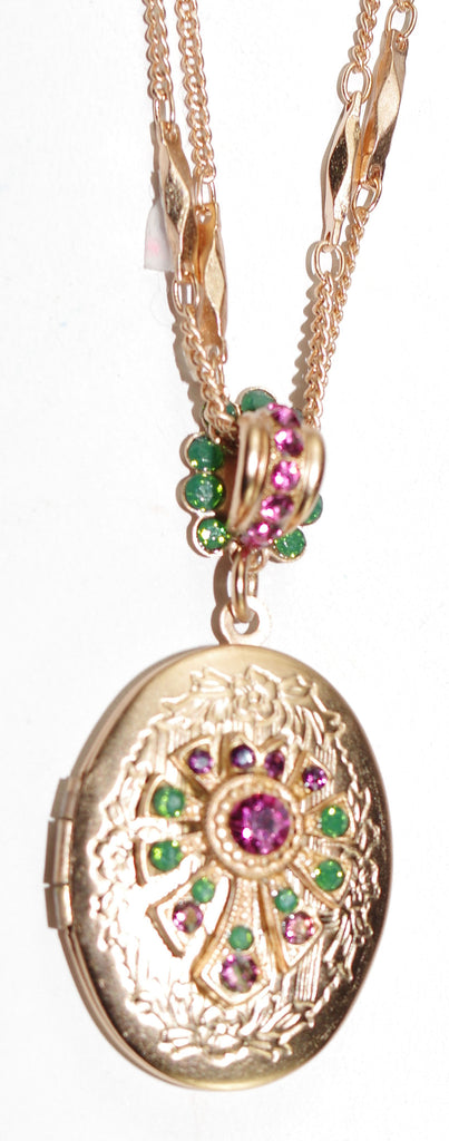 "MARIANA PENDANT LOCKET LUCK: pink, green, purple stones in 1"" locket in rose gold setting, 19"" adjustable chain"