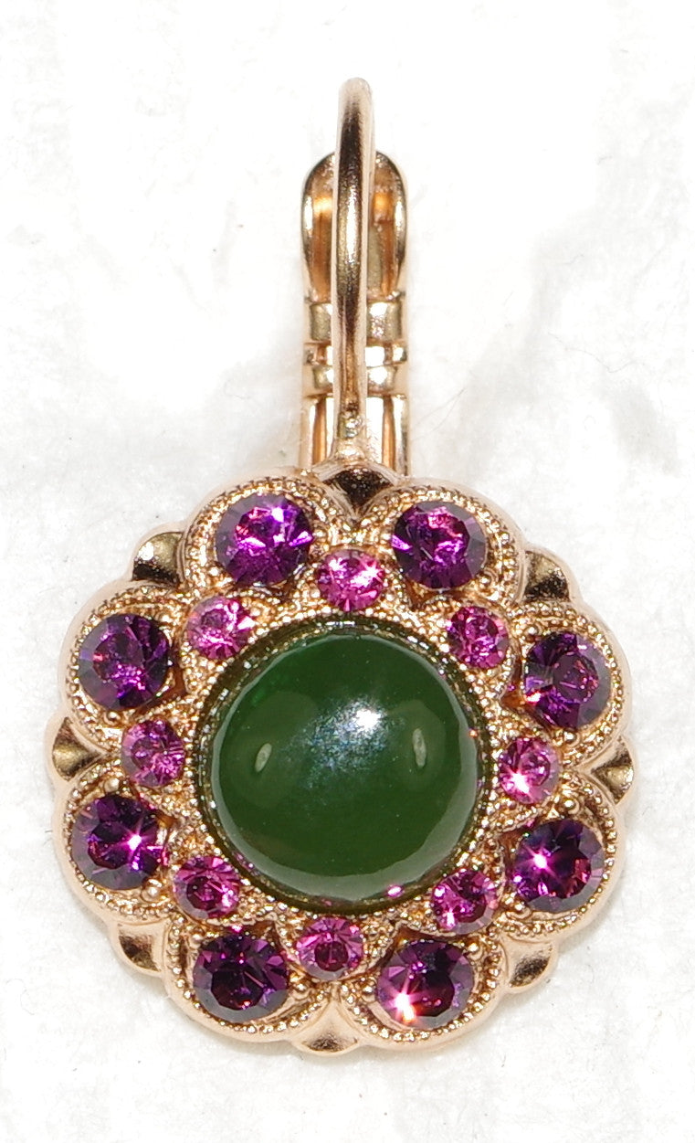 "MARIANA EARRINGS LUCK: green, pink, purple stones in 1/2"" rose gold setting, lever back"
