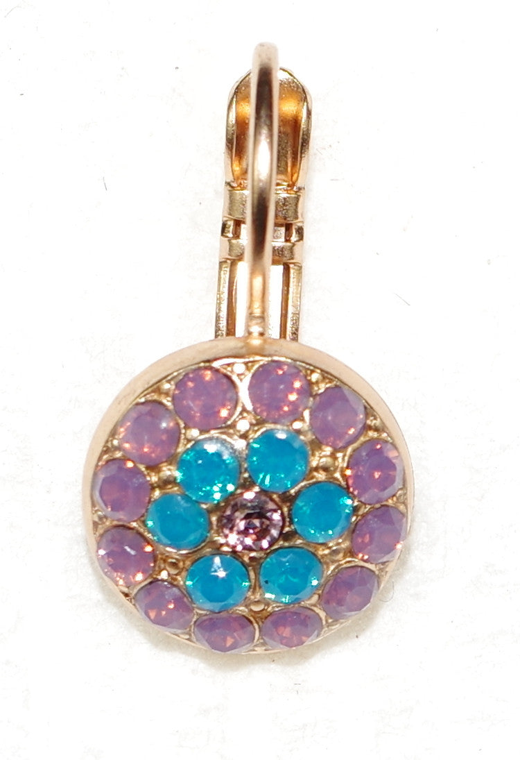 "MARIANA EARRINGS SERENITY CELEBRATE: blue, lavender, pink stones in 3/8"" rose gold setting, lever back"