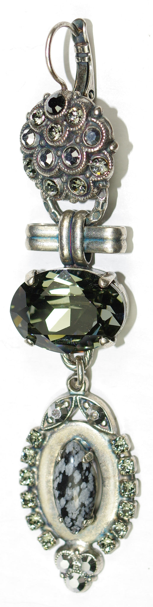 "MARIANA EARRINGS BLACK DIAMOND: taupe, black, grey, silver stones in 3"" silver setting, lever back"