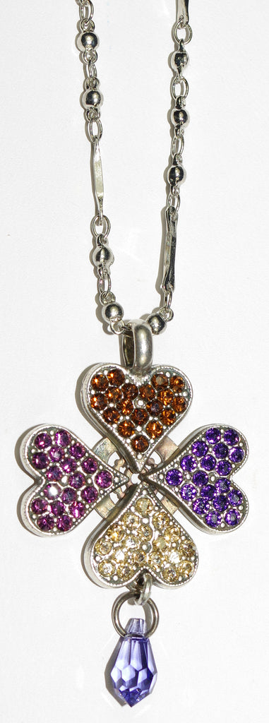 "MARIANA PENDANT FAITH: purple, topaz, yellow, lavender stones in 2"" silver charm, 28"" adjustable chain"
