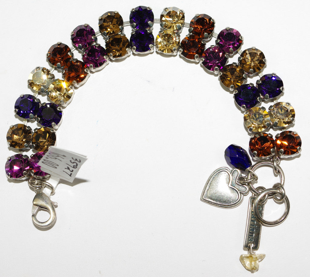 MARIANA BRACELET FAITH: purple, amber, topaz stones in double strand silver setting