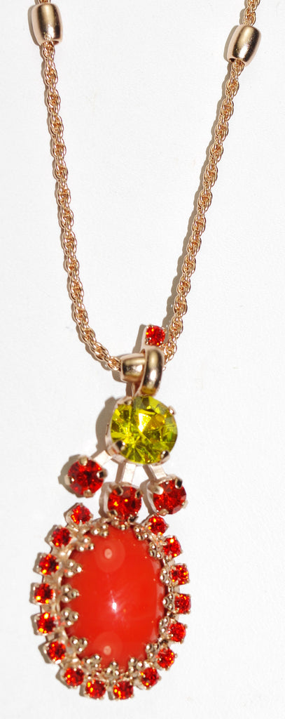 "MARIANA PENDANT STRENGTH: orange, green stones, pendant = 1.5"", in rose gold setting, 20"" adjustable chain"