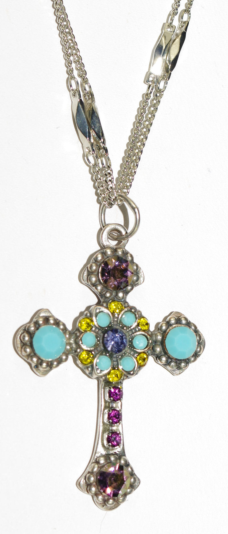 "MARIANA CROSS PENDANT HAPPINESS: turq, yellow, purple stones in silver setting, 18"" double chain"
