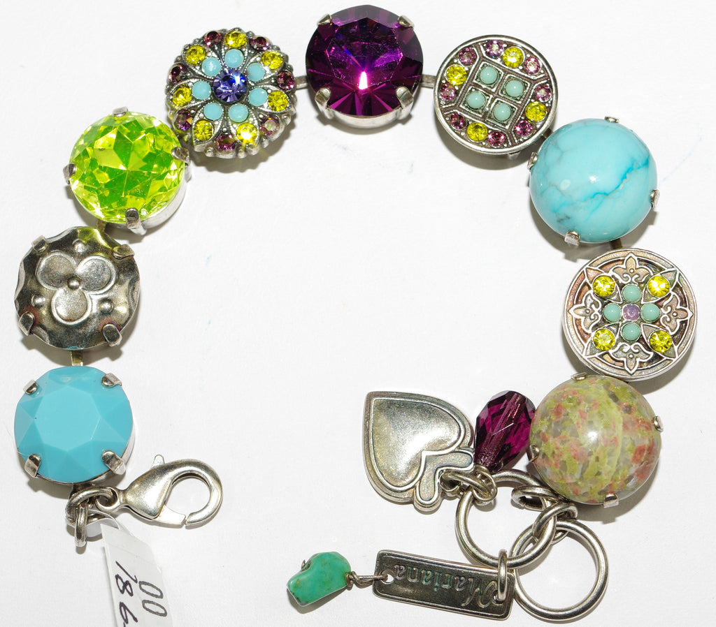 MARIANA BRACELET HAPPINESS: blue, yellow, purple, turq stones in silver setting