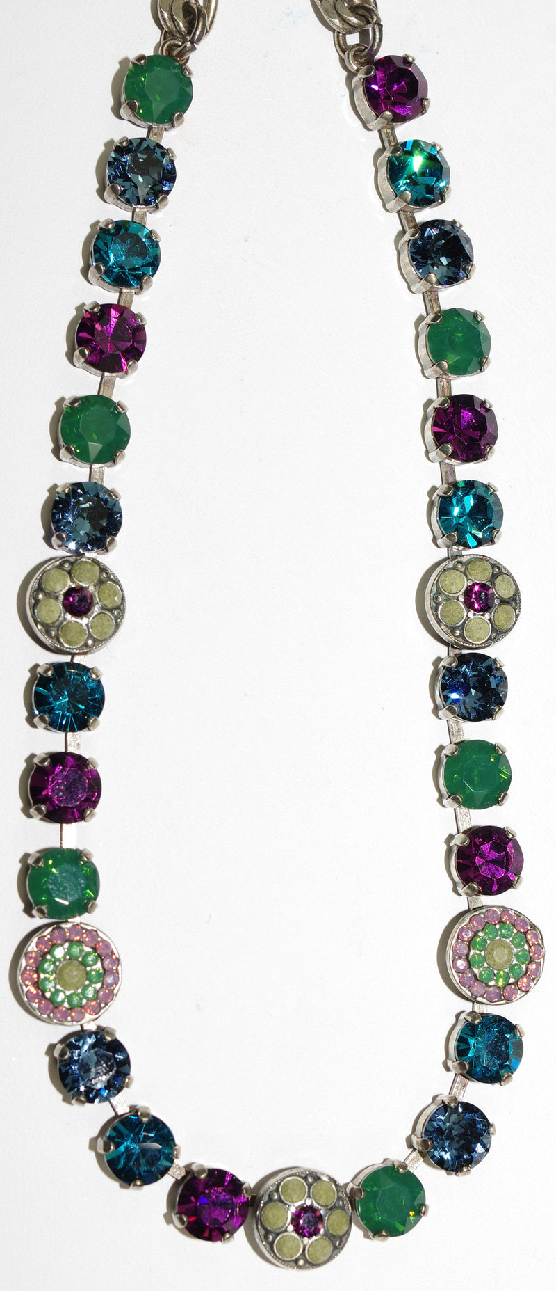 "MARIANA NECKLACE PATIENCE: green, teal, purple, grey stones in silver setting, 18"" adjustable chain"