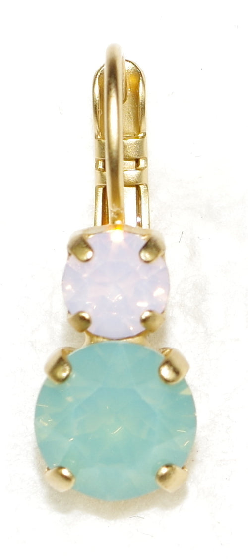 "MARIANA EARRINGS ETERNITY: pacific opal, pink stones in 1/2"" yellow gold setting, lever back"