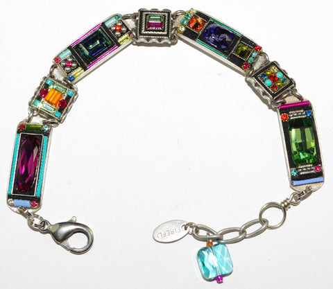 FIREFLY BRACELET BAQUETTE MULTI: purple, blue, fucshia, green stones in silver setting