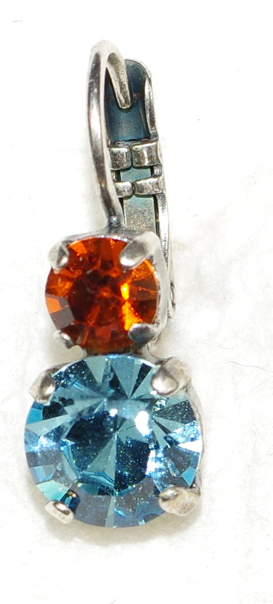 "MARIANA EARRINGS FRIENDSHIP: blue, amber stones in 1/2"" silver setting, lever back"