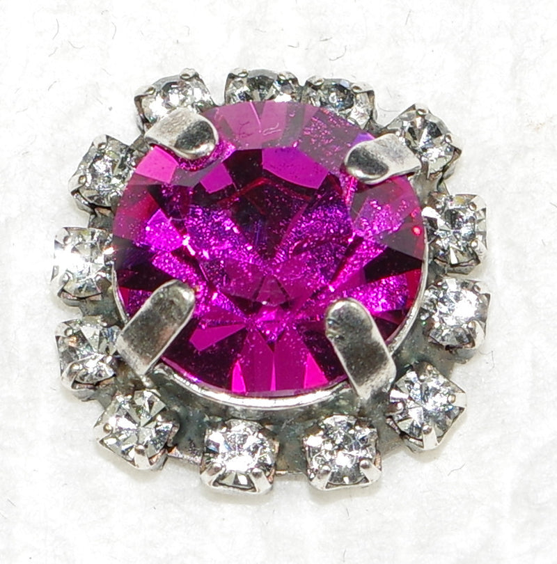 "MARIANA POST EARRINGS: fucshia, clear stones, 5/8"" setting, silver setting"