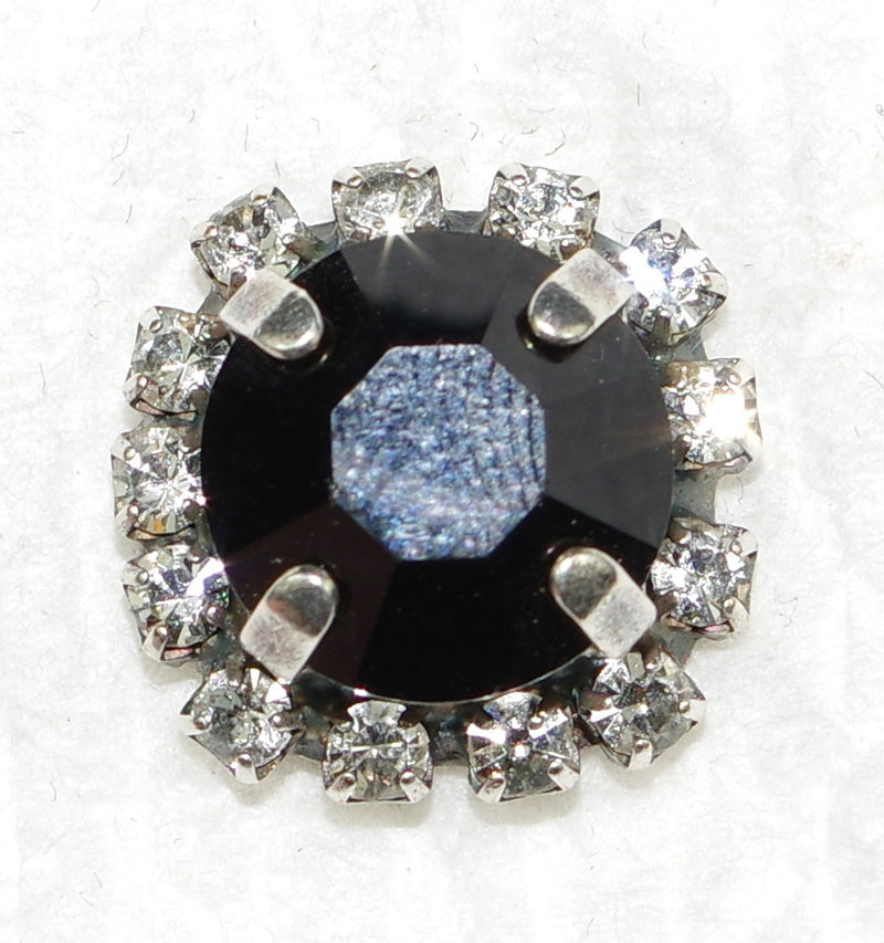 "MARIANA POST EARRINGS MIDNIGHT LACE: black, clear stones in 5/8"" silver setting"