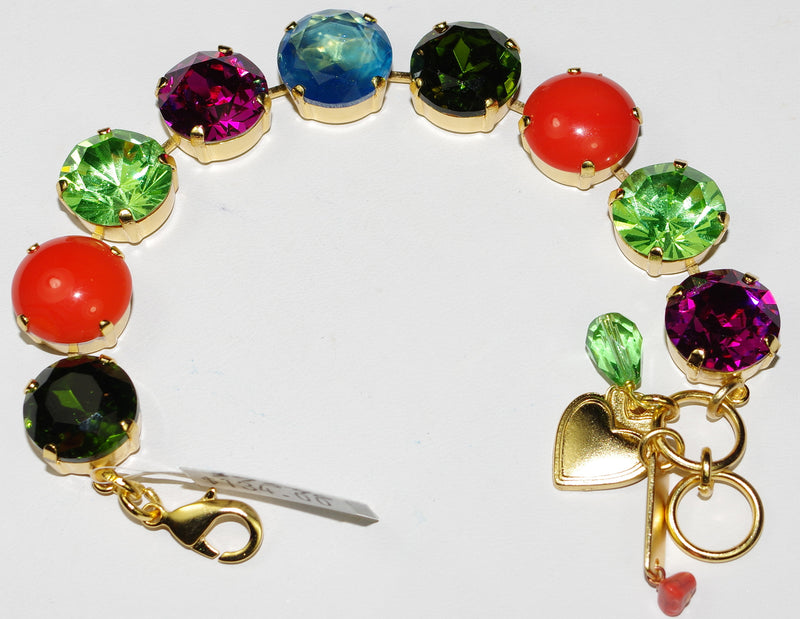 "MARIANA BRACELET TIGER LILLY: fucshia, green, orange, blue 5/8"" stones in yellow gold setting"