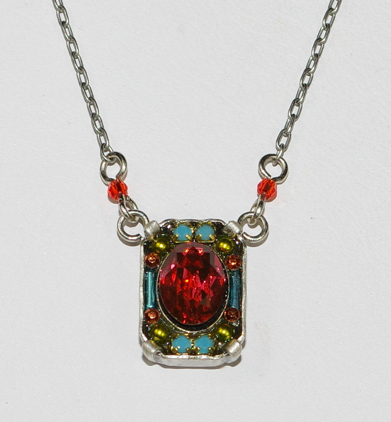 "FIREFLY NECKLACE PETITE CRYSTAL PADPADARSCHA:  multi color stones in 1/2"" pendant, silver 17"" adjustable chain"