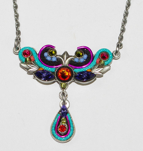 "FIREFLY NECKLACE ART NOVEAU MULTI: multi color stones in 1"" pendant with drop, silver 17"" adjustable chain"