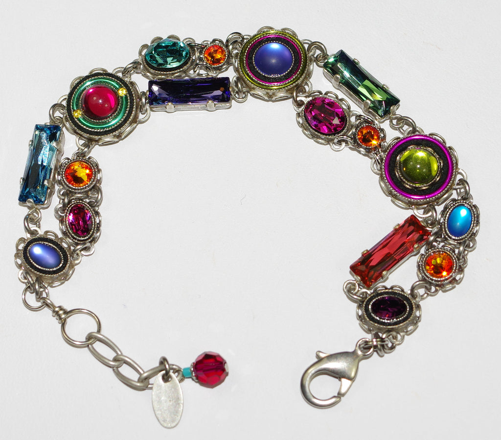 FIREFLY BRACELET BUBBLE MULTI: multi color stones in double strand silver setting