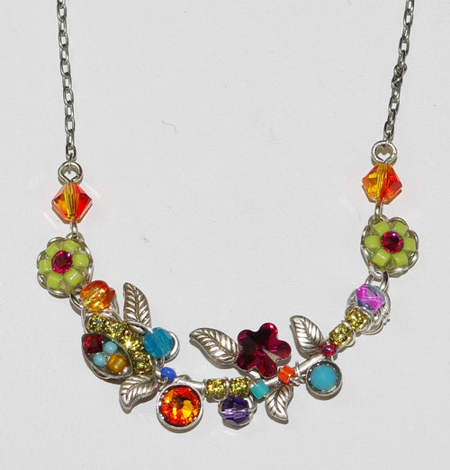 "FIREFLY NECKLACE PETITE SCALLOP FLOWER MULTI: multi color stones in 2"" setting, silver 17"" adjustable chain"