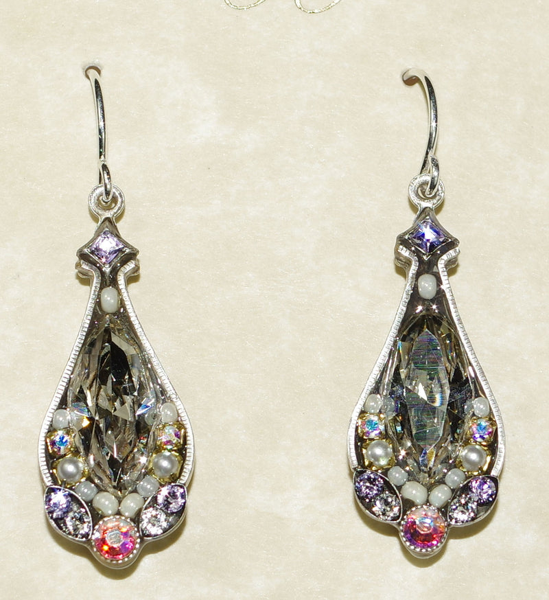 "FIREFLY EARRINGS LARGE CRYSTAL SILVER: clear stone in 1"" silver setting"