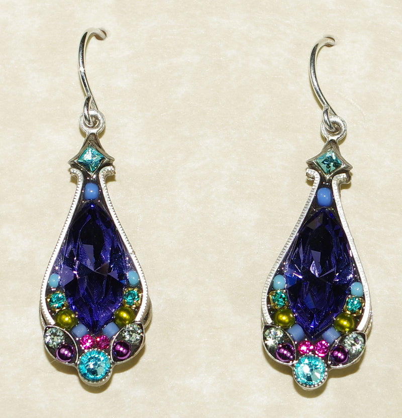 "FIREFLY EARRINGS LARGE CRYSTAL TANZ: multi color stones in 1"" silver setting"