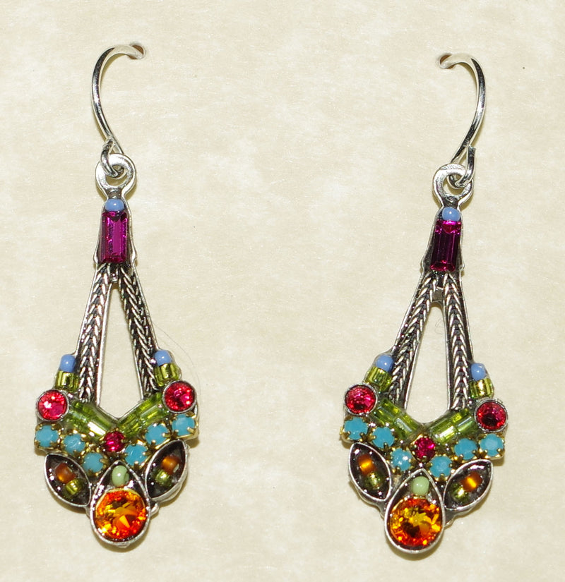 "FIREFLY EARRINGS PARISIAN MC: multi color stones in 1.25"" silver setting"