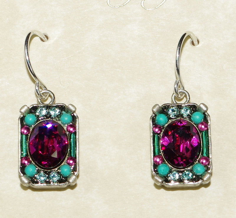 "FIREFLY EARRINGS PETITE CRYSTAL FUCSHIA: multi color stones in 1/2"" silver setting"