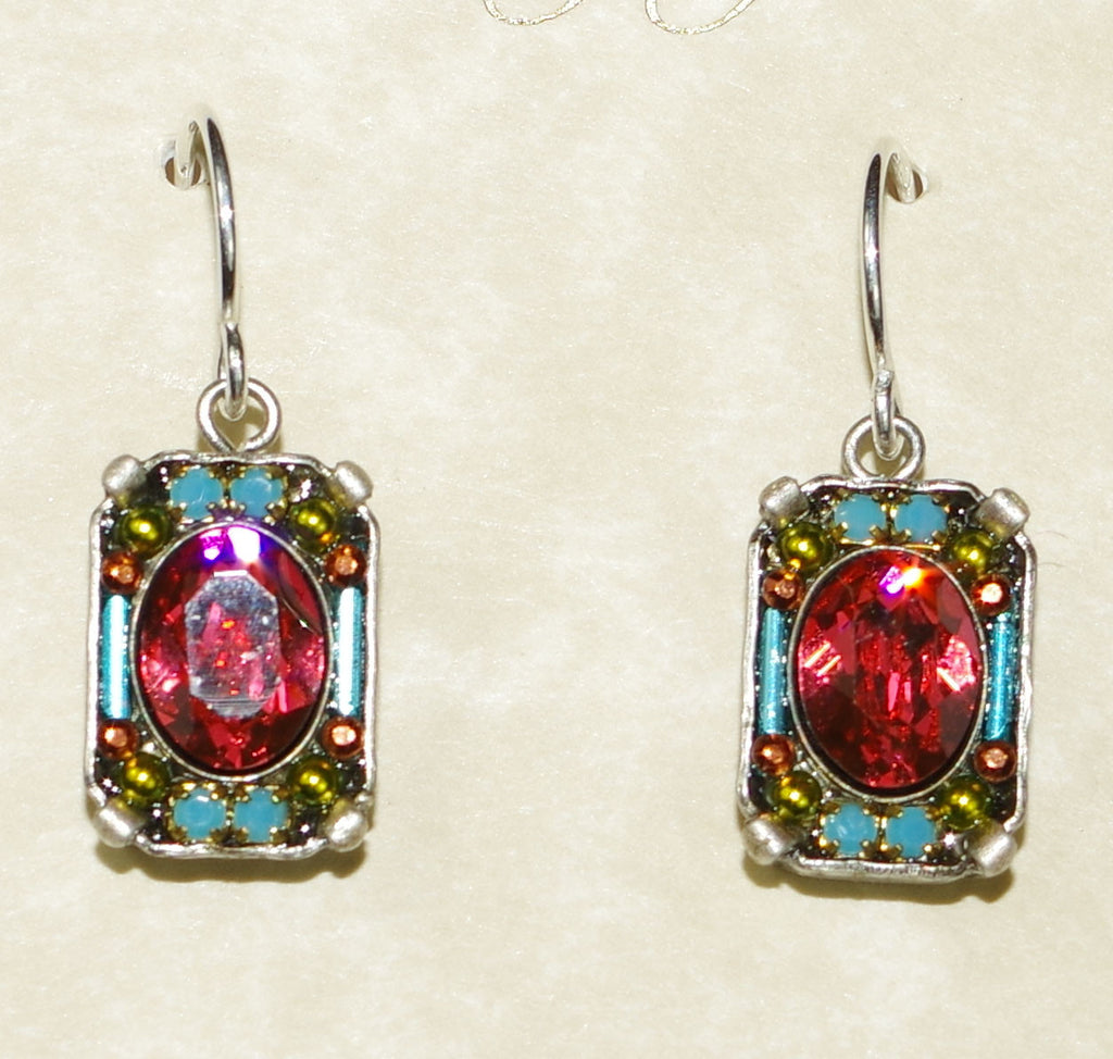"FIREFLY EARRINGS PETITE CRYSTAL PAD: multi color stones in 1/2"" silver setting"