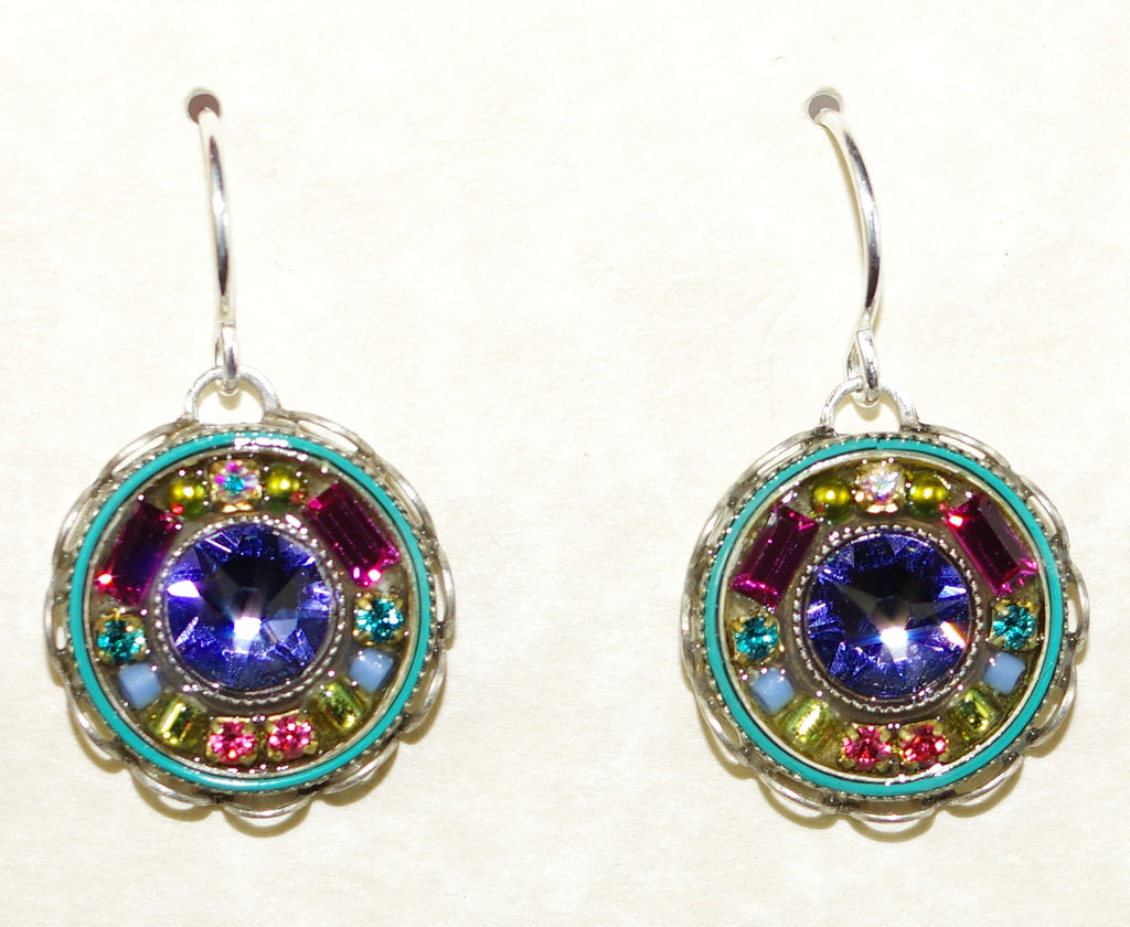 "FIREFLY EARRINGS VINTAGE ROUND MC:  blue, fucshia, green stones in 3/4"" silver setting, wire backs"