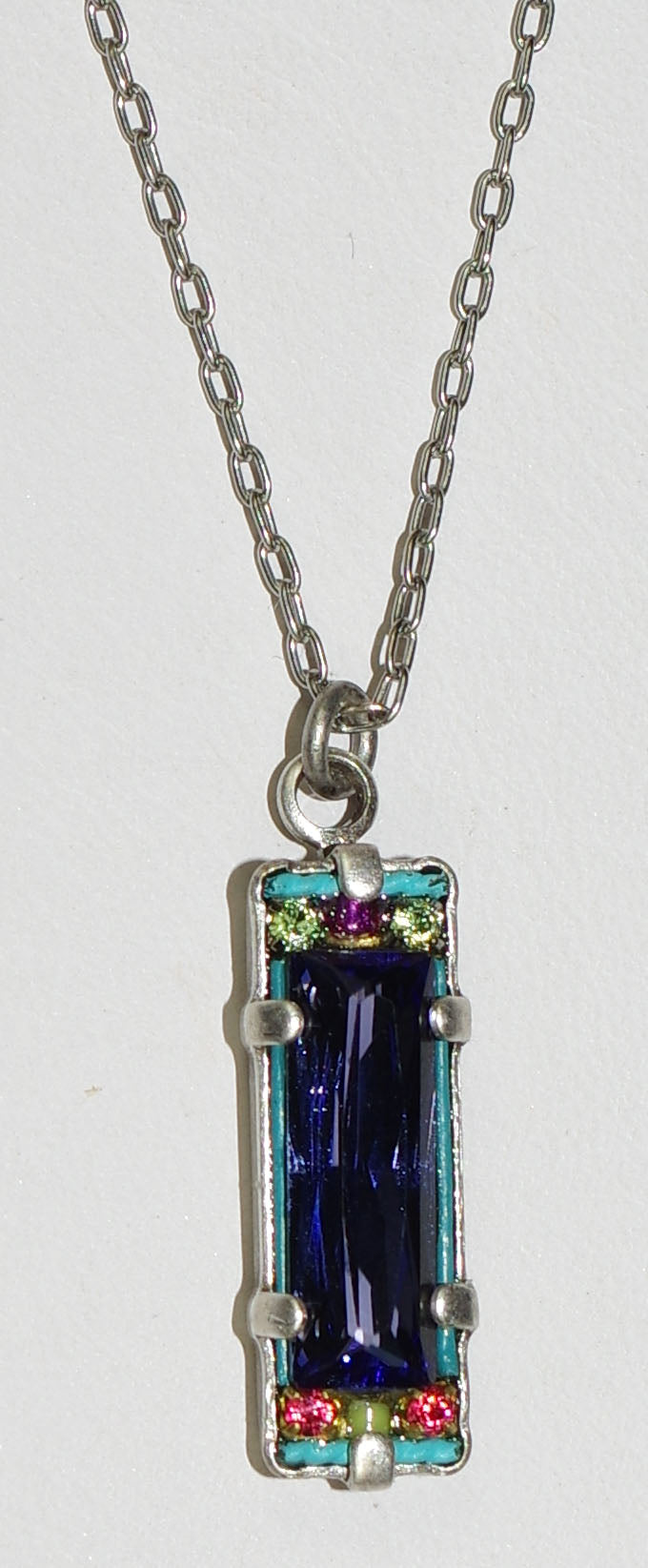 "FIREFLY NECKLACE BAGUETTE TANZ: multi color stones in 3/4"" pendant, SILVER 17"" adjustable chain"