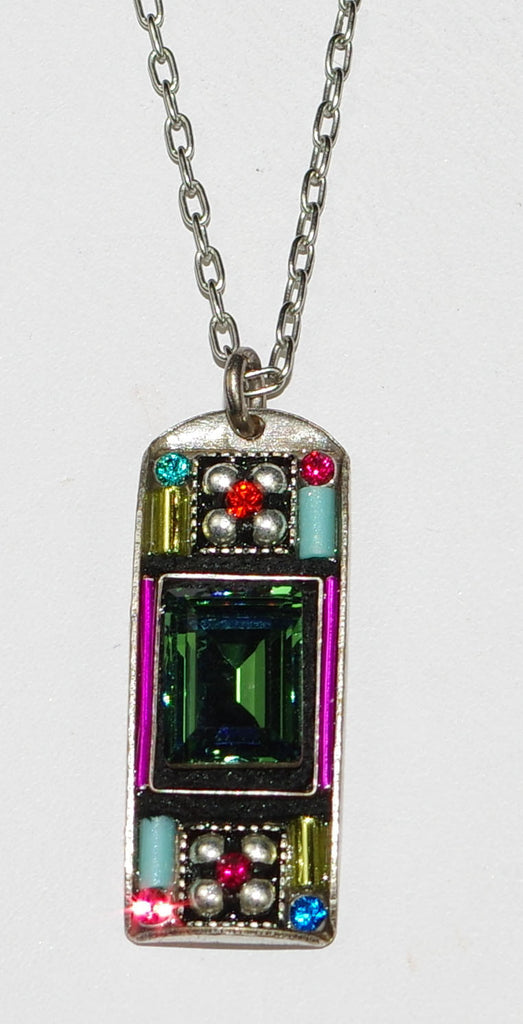 "FIREFLY NECKLACE BAGUETTE MULTI: multi color stones in 1"" pendant, silver 17"" adjustable chain"