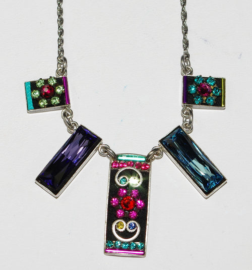 "FIREFLY NECKLACE BAGUETTE MULTI: multi color stones in silver 17"" adjustable chain"