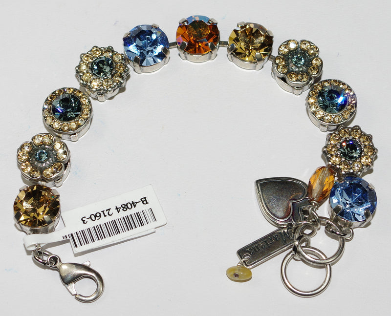 MARIANA BRACELET SUN SAND: amber, blue stones in silver setting