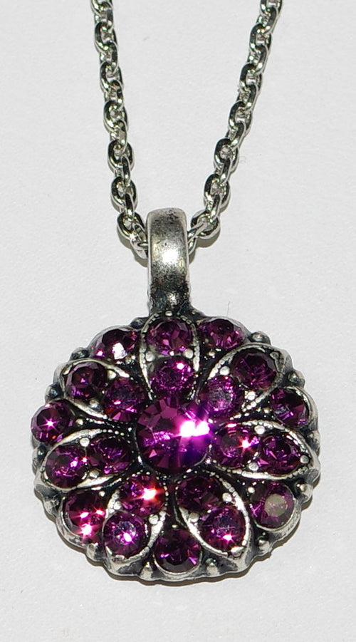 "MARIANA ANGEL PENDANT AMETHYST FEBRUARY BIRTHDAY: pinkish/purple stones in silver rhodiumsetting, 18"" adjustable chain"