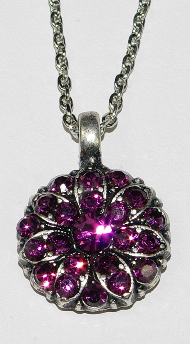 "MARIANA ANGEL PENDANT AMETHYST FEBRUARY BIRTHDAY: pinkish/purple stones in silver setting, 18"" adjustable chain"