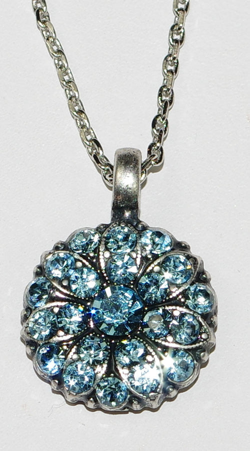 "MARIANA ANGEL PENDANT AQUAMARINE MARCH BIRTHDAY:  light blue stones in silver setting, 18"" adjustable chain"