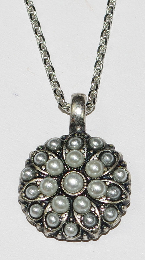 "MARIANA ANGEL PENDANT PEARL JUNE BIRTHDAY: white, grey pearl stones in silver setting, 18"" adjustable chain"